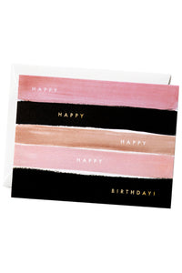 Pink Stripe Birthday Card