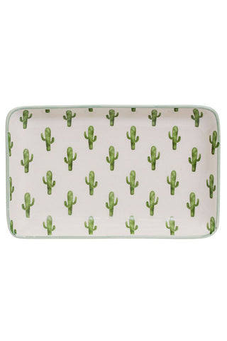 Scattered Cactus Rectangle Plate