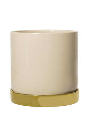 Ceramic Flower Pot | Natural & Gold