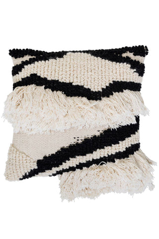 Black & White Wool Blend Pillow | 22""