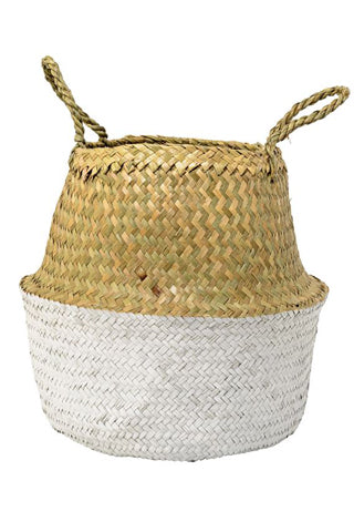 Round Seagrass Basket | White & Natural