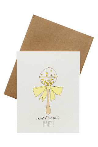 Welcome Baby Rattle Card