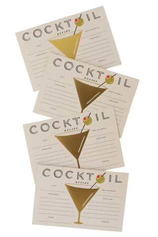 Cocktail Recipe Cards Set