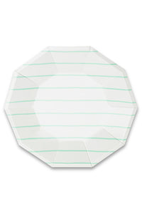 Frenchie Striped Mint Large Plates Set/8