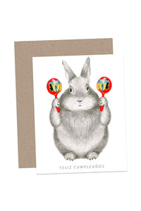 Bunny with Maracas Birthday Card