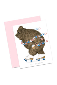 Rollerskating Bear Birthday Card