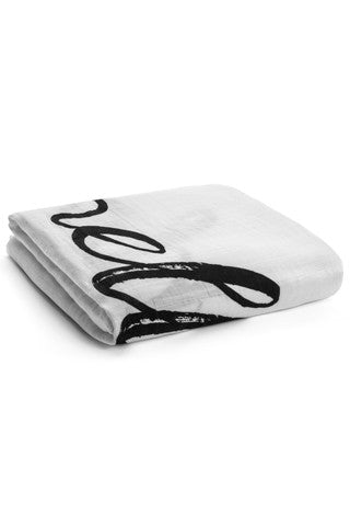 "Organic Muslin Swaddle Blanket - ""Hello World"""
