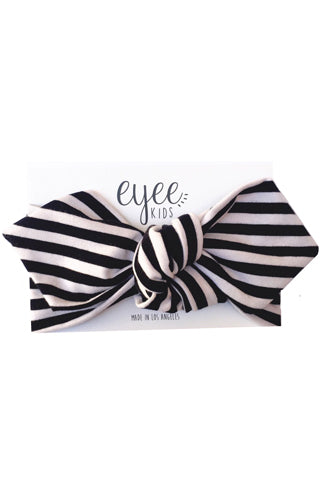 Black & White Striped Top Knot Headband