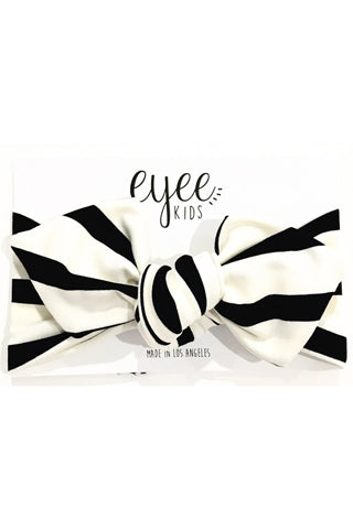 Copy of Black & Ivory Striped Top Knot Headband