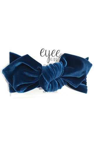 Teal Blue Velvet Top Knot Headband