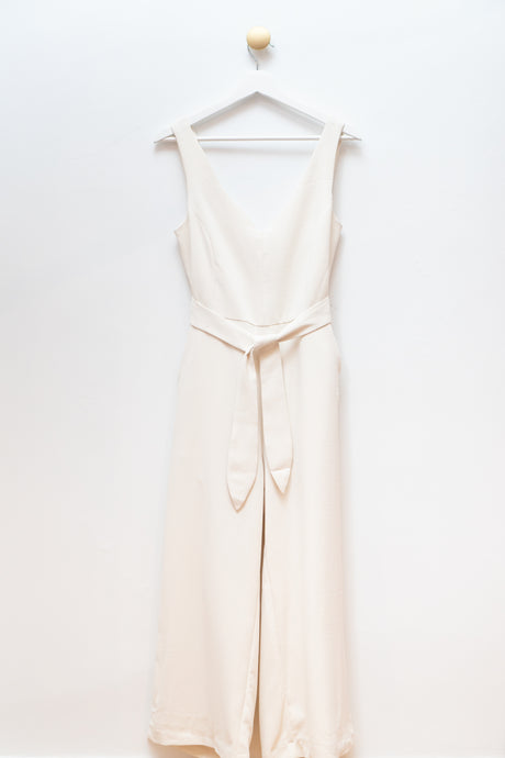 Cream V-Neck Jumpsuit