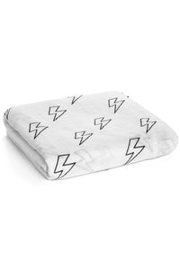 Organic Muslin Swaddle Blanket - Lightning Bolts