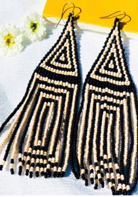 Lily Beaded Earrings | Ivory Stripe