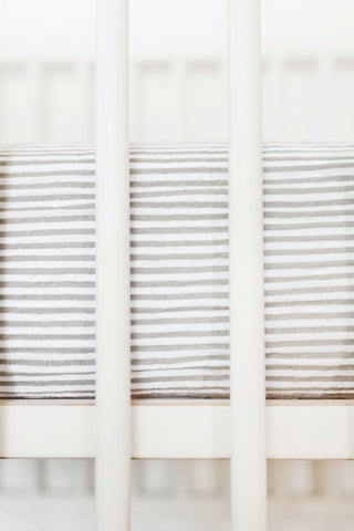 Grey Stripe Cotton Muslin Crib Sheet