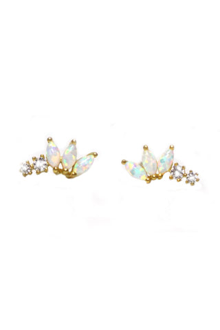 Opal & Diamond Twinkling Lotus Studs