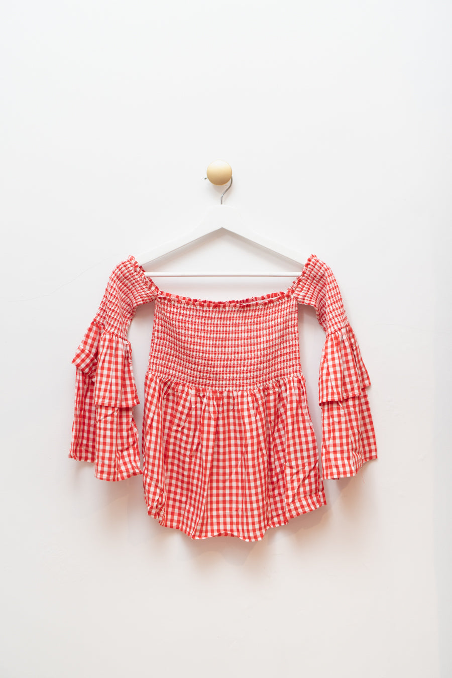 Smock & Roll Gingham Top