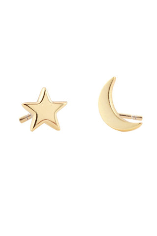 Star & Moon Stud Earrings