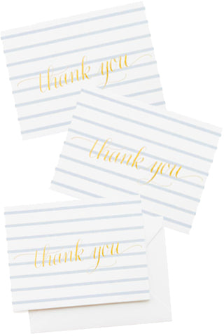 Blue Stripe Thank You Note Set