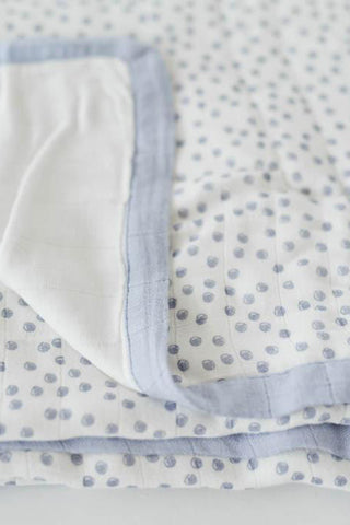 Periwinkle Polka Dot Deluxe Muslin Quilt