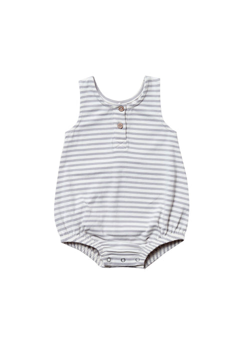Striped Sleeveless Bubble Onesie | Grey