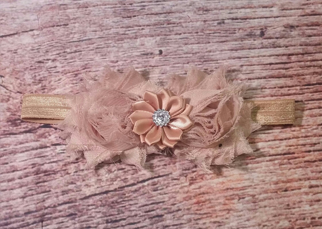 Tan And Gold Shabby And Satin Rhinestone Flower Headband! - Princesses Design