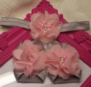 Gray and Pink Chiffon Headband and Barefoot Sandals Set - Princesses Design