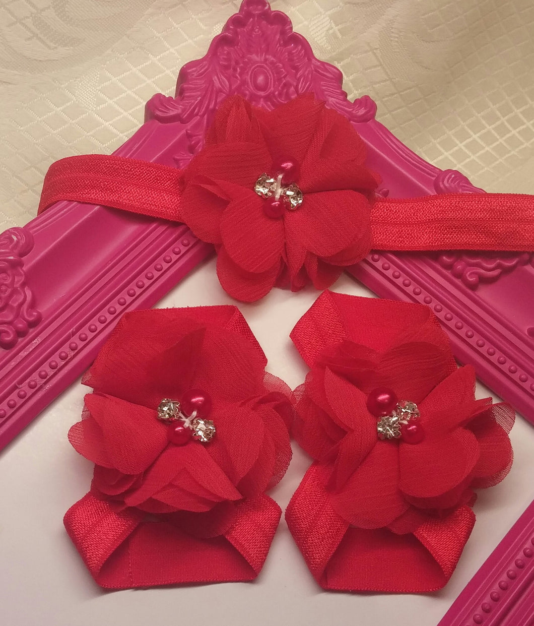 Red Chiffon Headband and Barefoot Sandal Sets - Princesses Design