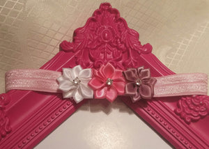 Triple Satin Rhinestone Flowers Headband - Princesses Design