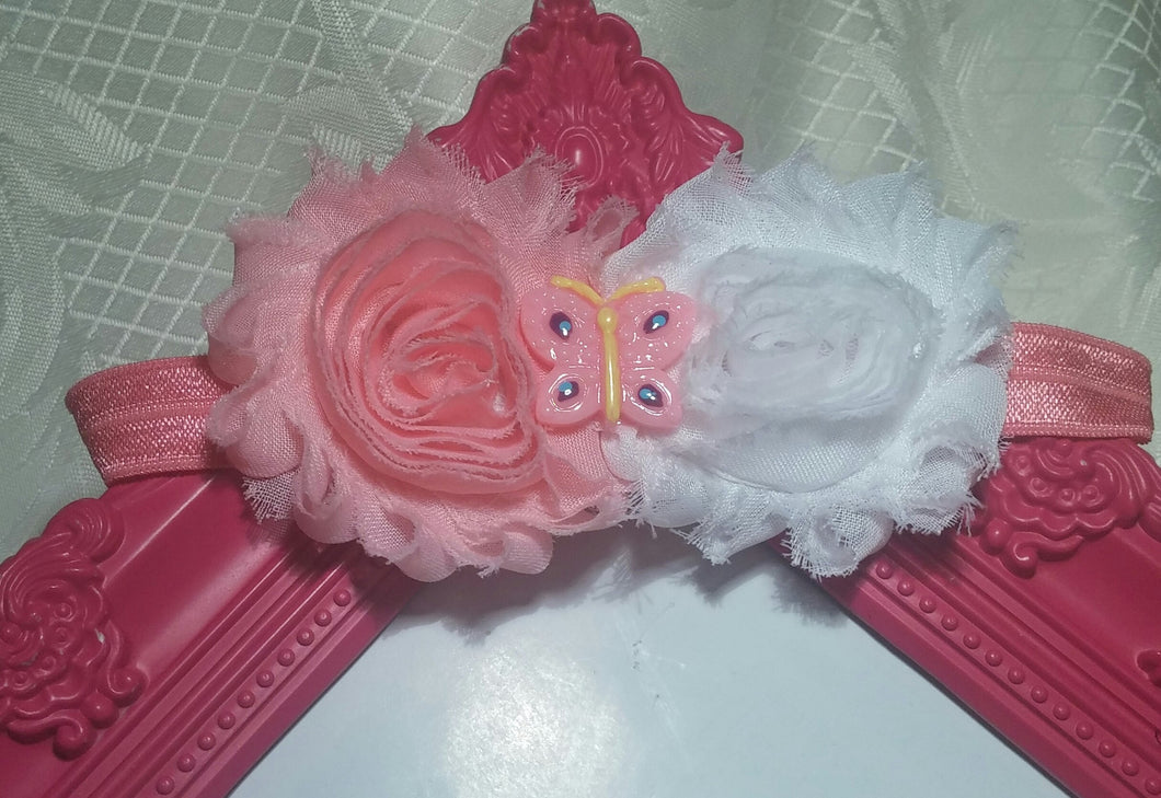 Pink And White Shabby Butterfly Baby Girl Headband! - Princesses Design