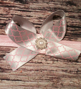 Silver and Pink Bow with Rhinestone encircled Pearl Baby Girl Headband! - Princesses Design