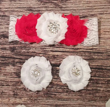 Red and White with Rhinestone Snowflake Lace Baby Girl Headband and Barefoot Sandal Set! - Princesses Design