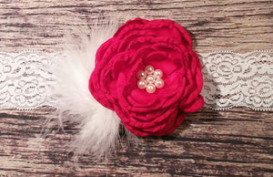Fancy Red Singed Flower With Pearl Center and White Feather Puff on White Lace! - Princesses Design