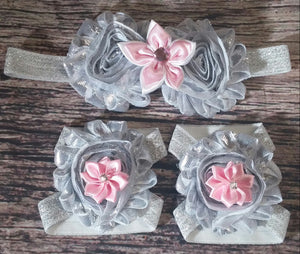 Metallic Silver and Light Pink Flowers on Silver Glitter Band Headband and Barefoot Sandal Set! - Princesses Design