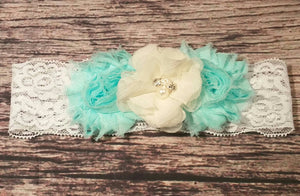 Aqua and Cream Chiffon Flower Lace Headband! - Princesses Design