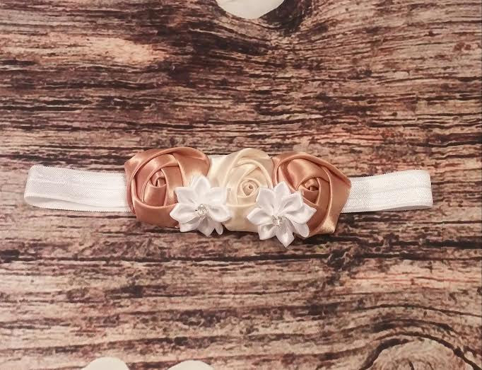 Cream and Gold Triple Rose Baby Girl Headband - Princesses Design