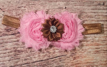 Cupcake Set! Pink and Brown Shabby and Satin Rhinestone Headband and Headband and Barefoot Sandal Set! - Princesses Design