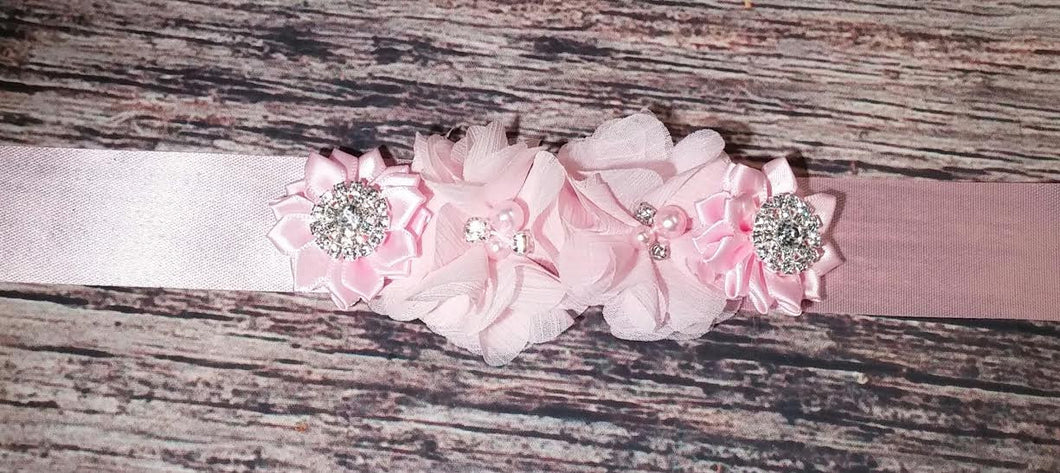 Maternity Sash! It's a girl! Pink Rhinestone Pearl Chiffon Flowers and Satin Bling Flowers on Pink Satin Sash! - Princesses Design