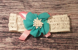 Aqua and Coral Flower Headband! - Princesses Design
