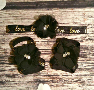 Black Headband. Black Barefoot Sandals. Black and gold. Black Flower Hair Clip.