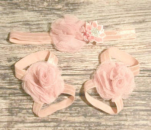 Dusty Rose Tulle and Satin Bling Flowers Headband and Barefoot Sandals Set - Princesses Design