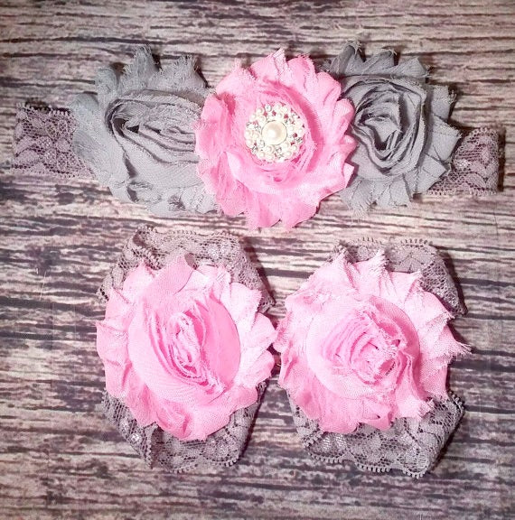Beautiful Gray and Pink Rhinestone and Lace Headband and Barefoot Sandals - Princesses Design