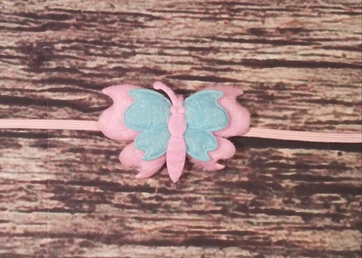 Pink and Blue Felt Butterfly Skinny Baby Girl Headband! - Princesses Design
