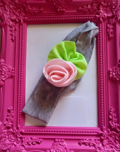 Grey Band with Pink Rose Cotton Baby Girl Headband! - Princesses Design
