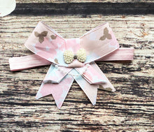 Multi Colored Pink Rhinestone and Pearl Bow Headband