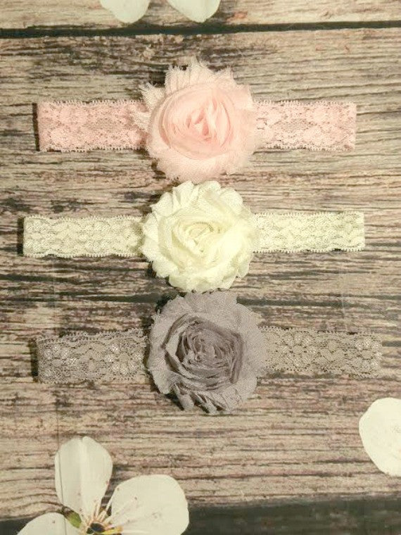 Lace Headband Set! Pink, Cream and Gray. - Princesses Design