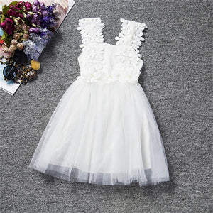Beautiful White Lace, Pearl Flowers and Tulle Dress!