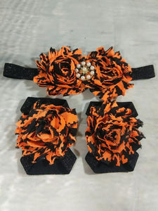 Headband and Barefoot Sandals Set. Baby Headband. Baby Barefoot Sandals. Headband Set. Halloween Headband. Halloween Barefoot Sandals.