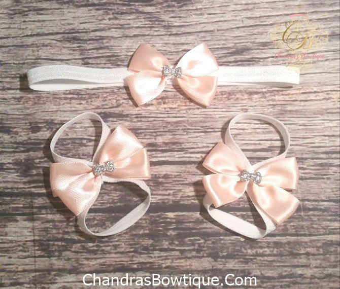 Peach and Silver Bow Headband and Barefoot Sandals Set - Princesses Design