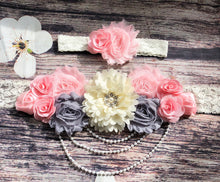 Beautiful Pink Gray and Cream Lace and Pearls Sash and Matching Headband