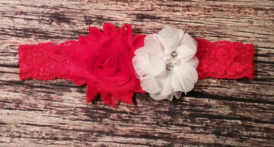 Red Shabby and White Chiffon on Red Lace Baby Girl Headband! - Princesses Design